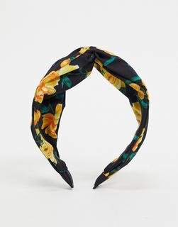 River Island - Schwarzes Haarband mit floralem Print und Knotendesign