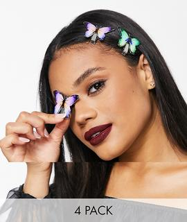 ASOS DESIGN - Halloween – 4er-Pack Haarclips mit dunklen Schmetterlingen-Mehrfarbig