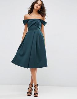 ASOS DESIGN - ASOS – Ballkleid aus Neopren mit Carmenausschnitt und Faltendetail-Grün