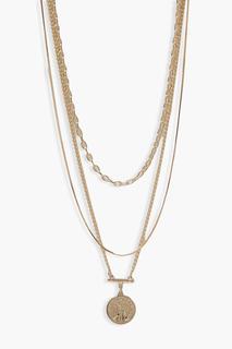 boohoo - Womens Dreireihige Halskette Mit Münzanhänger - Gold - One Size, Gold