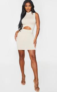 PrettyLittleThing - Shape Stone Jersey Cut Out Detail High Neck Bodycon Dress, White