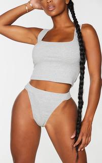 PrettyLittleThing - Shape Grey Thick Rib Thong, Grey