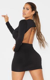 PrettyLittleThing - Shape Black Jersey Cut Out Back Long Sleeve Bodycon Dress, Black