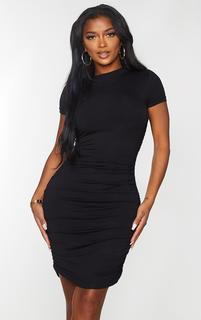 PrettyLittleThing - Shape Black Jersey High Neck Ruched Short Sleeve Bodycon Dress, Black