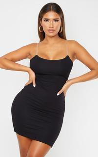 PrettyLittleThing - Shape Black Jersey Clear Strap Straight Neck Bodycon Dress, Black