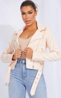 PrettyLittleThing - Ecru Faux Leather Belted Biker Jacket, Ecru