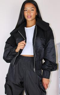 PrettyLittleThing - Petite Black Borg Contrast Nylon Zip Through Jacket, Black