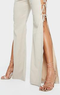 PrettyLittleThing - Beige Contrast Snake Square Toe Lace Up Strappy Top Loop Heeled Sandals, Camel