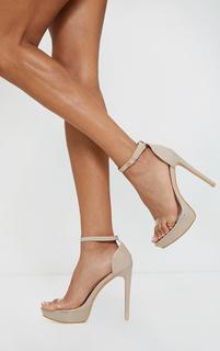PrettyLittleThing - Nude Clear Strap Platform Heeled Sandals, Pink