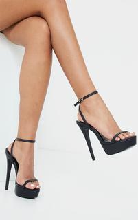 PrettyLittleThing - Black PU Platform Strappy High Heels, Black