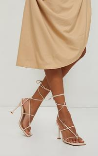 PrettyLittleThing - Beige Square Toe Strappy Lace Up Toe Thong High Heels Sandals, Camel