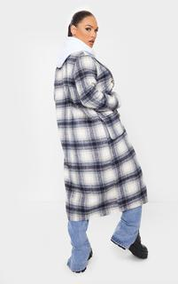 PrettyLittleThing - Blue Check Tortoise Mid Axis Coat, Blue