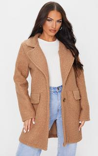 PrettyLittleThing - Camel Teddy Button Down Coat, Camel