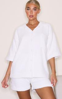 PrettyLittleThing - Cream Chenille Pocket Detail Short Sleeve Shirt Jacket, White