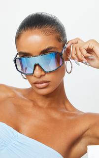 PrettyLittleThing - Blue Paint Splat Revo Square Frame Sunglasses, Blue