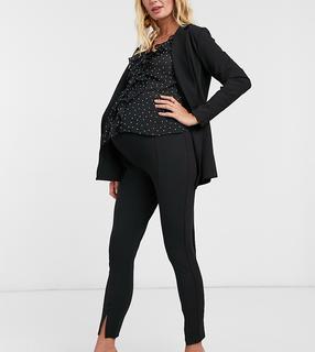 ASOS Maternity - ASOS DESIGN Maternity – Schmal geschnittene Jersey-Anzughose in Schwarz mit Schlitz vorne