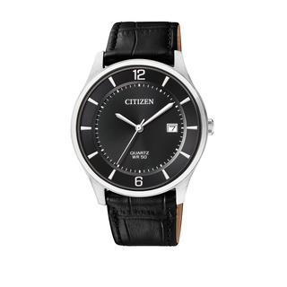 Citizen - Uhr - Leather Wristwatch Black Silver - in schwarz - für Damen