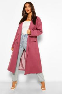 boohoo - Womens Double Breasted Belted Wool Look Coat - Plum - 34, Plum