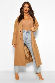 boohoo - Womens Double Breasted Belted Wool Look Coat - Camel - 40, Camel