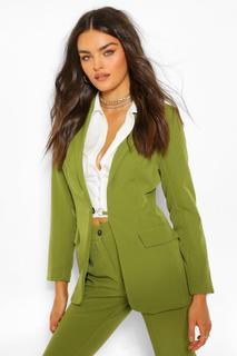 boohoo - Womens Eng Anliegender Blazer Mit O-Ring - Olivgrün - 36, Olivgrün
