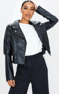 PrettyLittleThing - Black PU Ribbed Sleeve Biker Jacket, Black