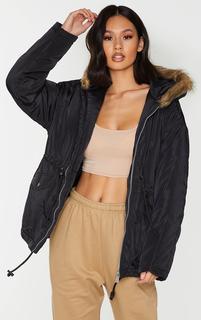 PrettyLittleThing - Black Nylon Drawstring Waist Faux Fur Hooded Puffer Jacket, Black