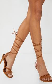 PrettyLittleThing - Tan PU Square Toe Lace Up High Heeled Sandals, Brown