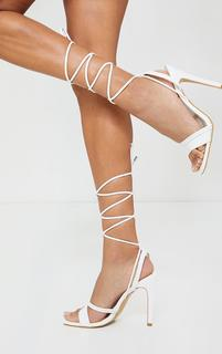PrettyLittleThing - White PU Square Toe Lace Up High Heeled Sandals, White