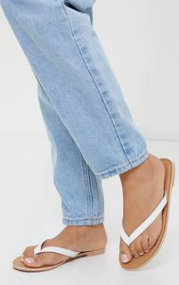 PrettyLittleThing - White Leather Contrast Sole Mule Sandals, White