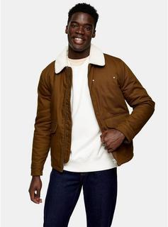 Topman - Mens Brown Tan Harrington Borg Jacket, Brown