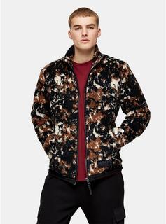 Topman - Mens Brown Camouflage Borg Jacket, Brown