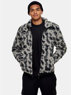 Topman - Mens Grey Animal Print Borg Jacket, Grey