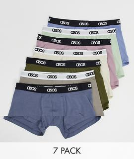 ASOS DESIGN - Pastellfarbene Unterhosen im 7er-Pack, Rabatt-Mehrfarbig