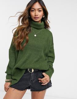 Vero Moda - Pullover mit Waffelstruktur und Rollkragen in Dunkelgrün