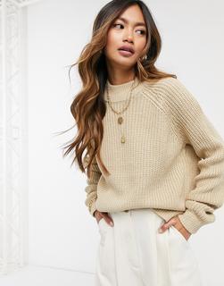 Vero Moda - Hochgeschlossener Pullover in Beige