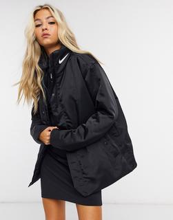 Nike - Premium-Mantel mit farblich abgestimmtem Logo in Schwarz