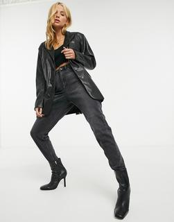 Urbancode - Blaise – Schwarzer Blazer mit Gürtel aus PU-Leder