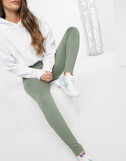 South Beach - Fitness – Nahtlose, gerippte Leggings in Khaki-Grün