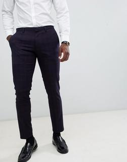 Burton Menswear - Sehr eng geschnittene Anzughose in Marine und Rot kariert-Navy