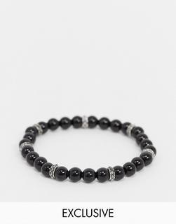 Reclaimed Vintage - Inspired – Schwarzes Perlenarmband für die Kollektion austauschbarer Anhänger