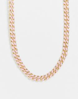 ASOS DESIGN - Halskette in Gold mit Emaille-Details in Rosa und Violett