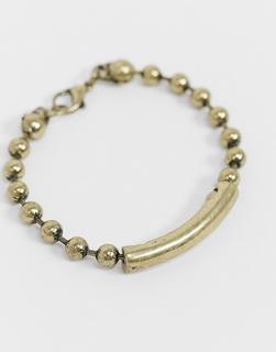 The Status Syndicate - Status Syndicate – Gold glänzendes Armband mit Kugelkette und gebogener ID-Plakette