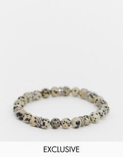 Reclaimed Vintage - Inspired – Changeable Charm Collection – Perlenarmband mit Jaspissteinen-Mehrfarbig