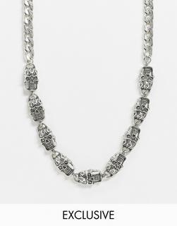 Reclaimed Vintage - Inspired – Grobgliedrige Halskette mit Totenkopf in Silber