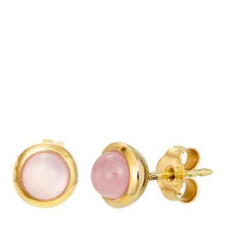 BELORO - Ohrringe - Earring Rose Quarz Yellow Gold - in rosa - für Damen