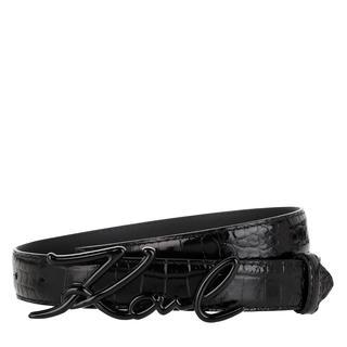 KARL LAGERFELD - Gürtel - Signature Croco Belt Black - in schwarz - für Damen