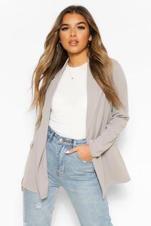 boohoo - Womens Petite Oversized Blazer - Grey - 30, Grey
