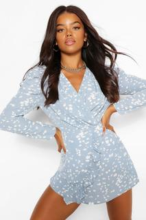 boohoo - Womens Spot Print Flare Sleeve Playsuit - Dusty Blue - 42, Dusty Blue