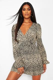 boohoo - Womens Leopard Print Cut Out Back Long Sleeve Playsuit - Black - 36, Black