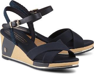 TOMMY HILFIGER - Keil-Sandalette in dunkelblau, Sandalen für Damen